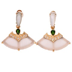 Rock Crystal Multi-Gem Fan Shape Drop Earrings