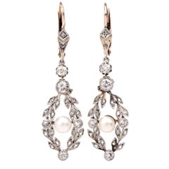 Edwardian Garland Diamond Pearl Pendant Drop Earrings