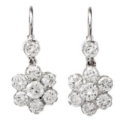 Diamond Platinum Floral Drop Earrings