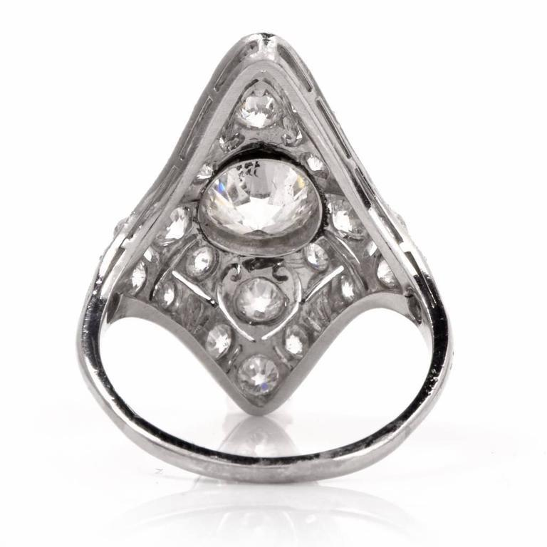 Antique Art Deco Diamond Filigree Platinum Ring For Sale 2