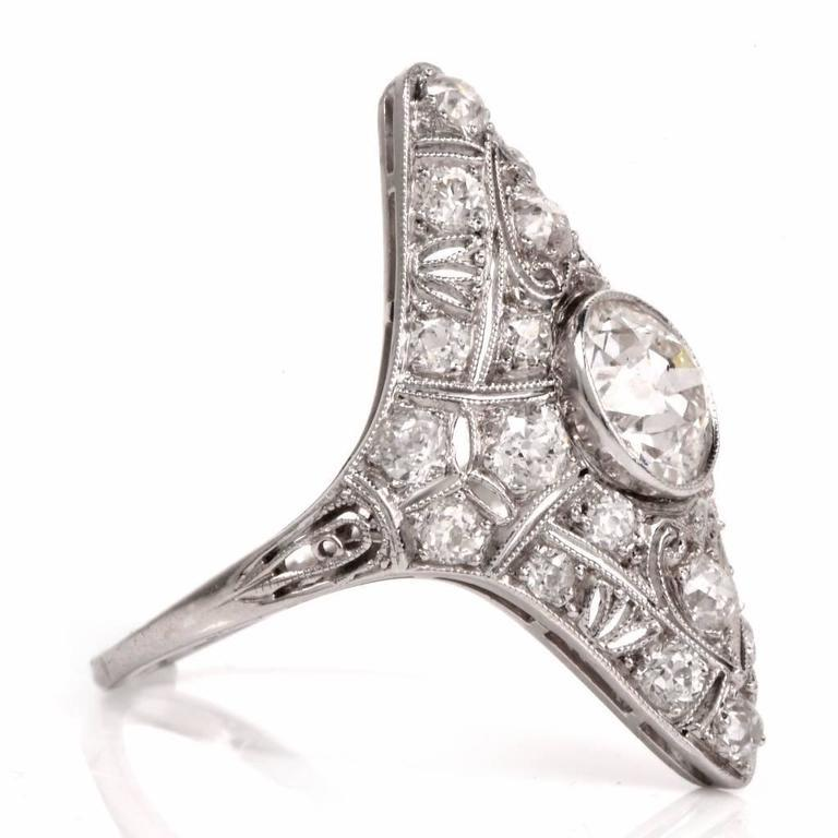 Antique Art Deco Diamond Filigree Platinum Ring For Sale 1
