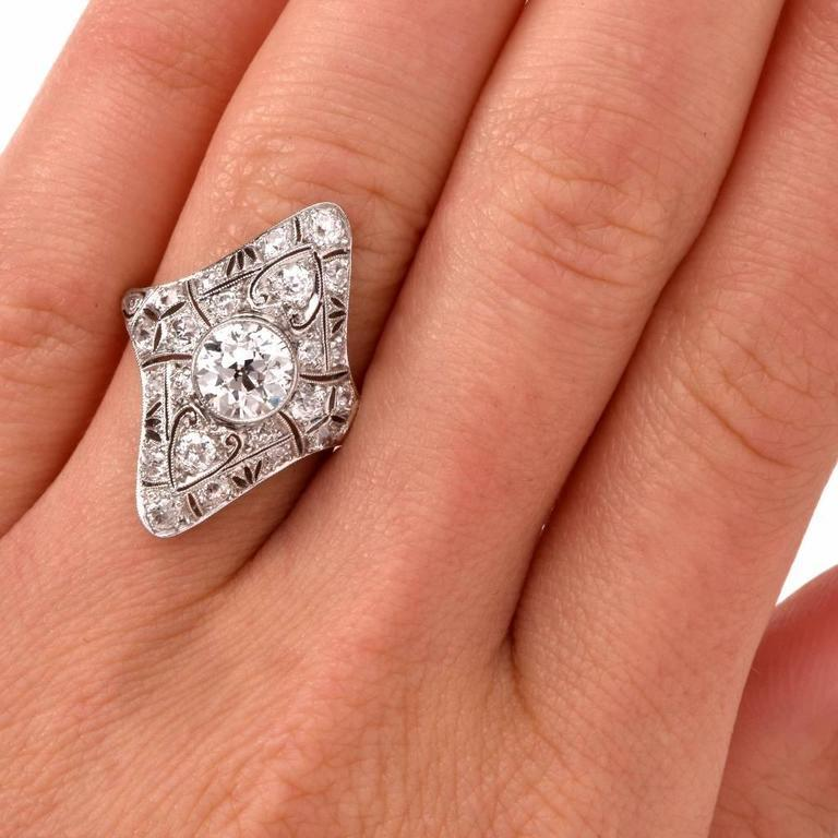 Women's or Men's Antique Art Deco Diamond Filigree Platinum Ring For Sale