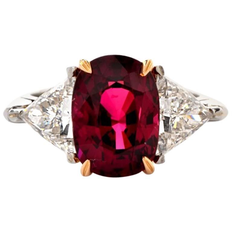 1980s Ruby Diamond Platinum Three-Stone Ring