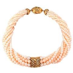 Pearl Coral Beads Diamond 18 Karat Gold Choker Necklace