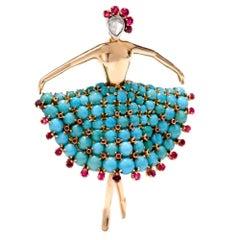 Vintage 1950s Turquoise Ballerina Diamond Ruby Pin