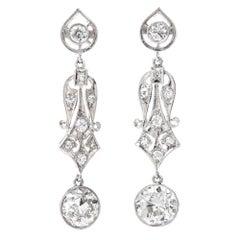 Vintage Diamond Gold Dangle Drop Earrings