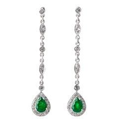 Emerald Diamond Dangle Drop Earrings