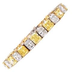 Natural Fancy Vivid Yellow and Extra White Diamond Platinum Gold Bracelet