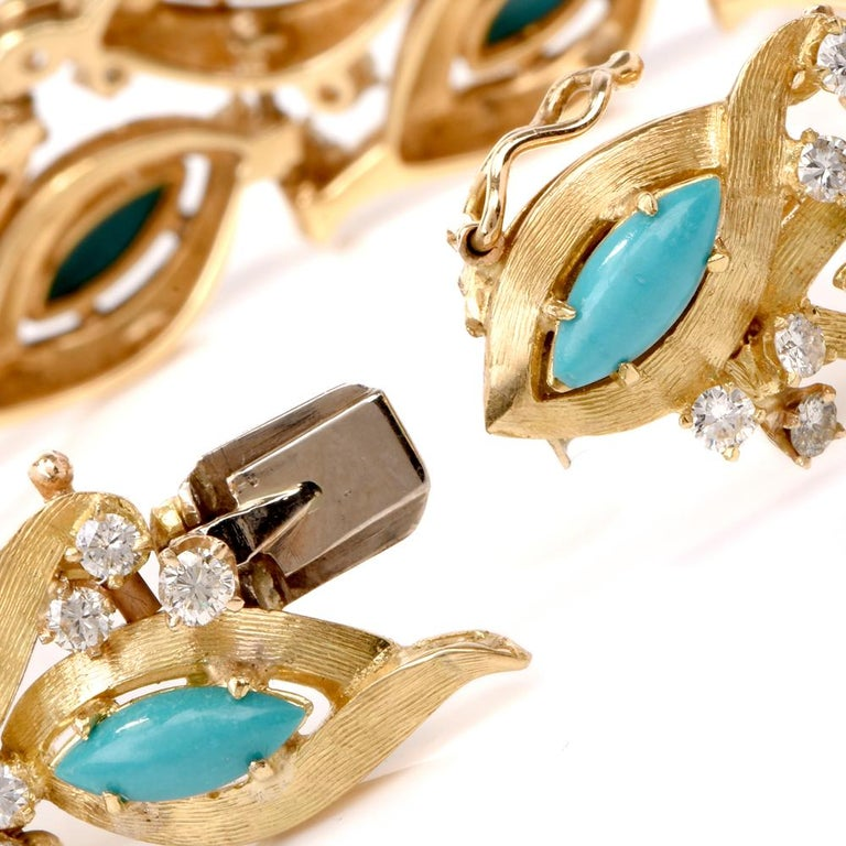 This vintage turquoise and diamond bracelet is crafted in 18-karat yellow gold. Incorporating with 18 leaf motif links, each exposing a genuine marquise Persian turquoise cabochon approx. 10.00 carats, complemented by 54 genuine round-faceted
