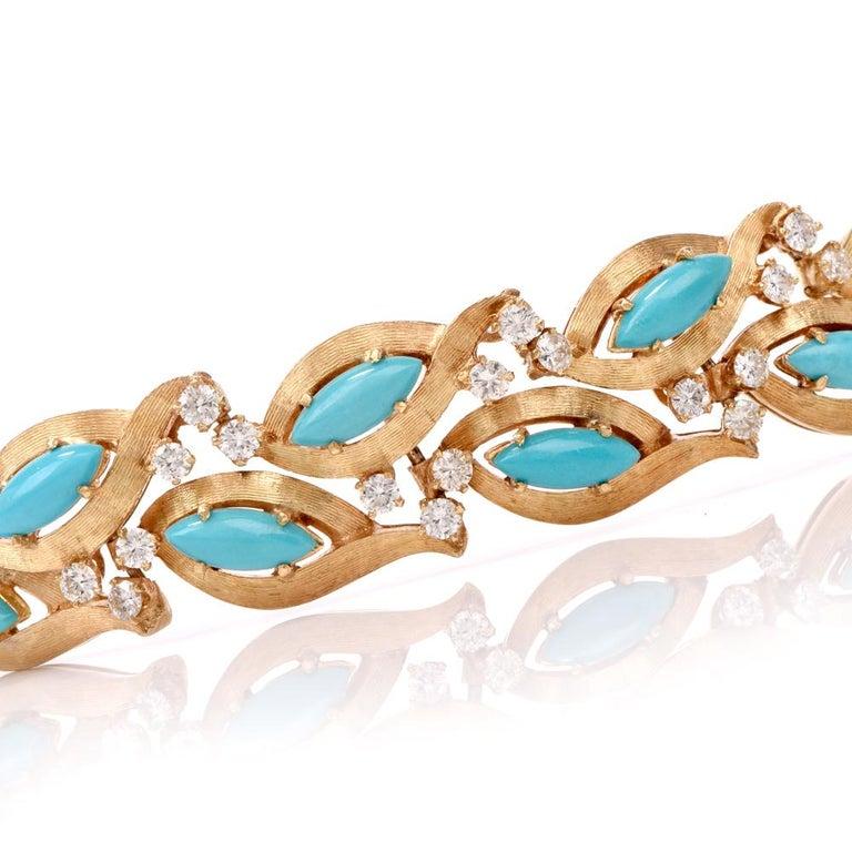 1960s Vintage Diamond Persian Turquoise Diamond Gold Bracelet In Good Condition For Sale In Miami, FL