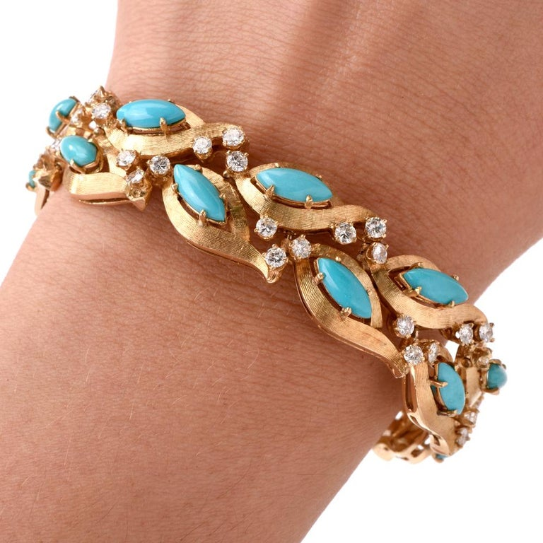 Women's 1960s Vintage Diamond Persian Turquoise Diamond Gold Bracelet For Sale