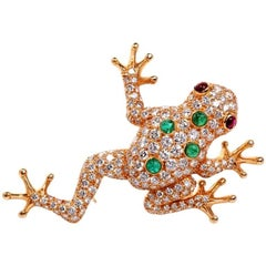 Oscar Heyman 7.27 Carat Diamond Frog Gold Pin Brooch