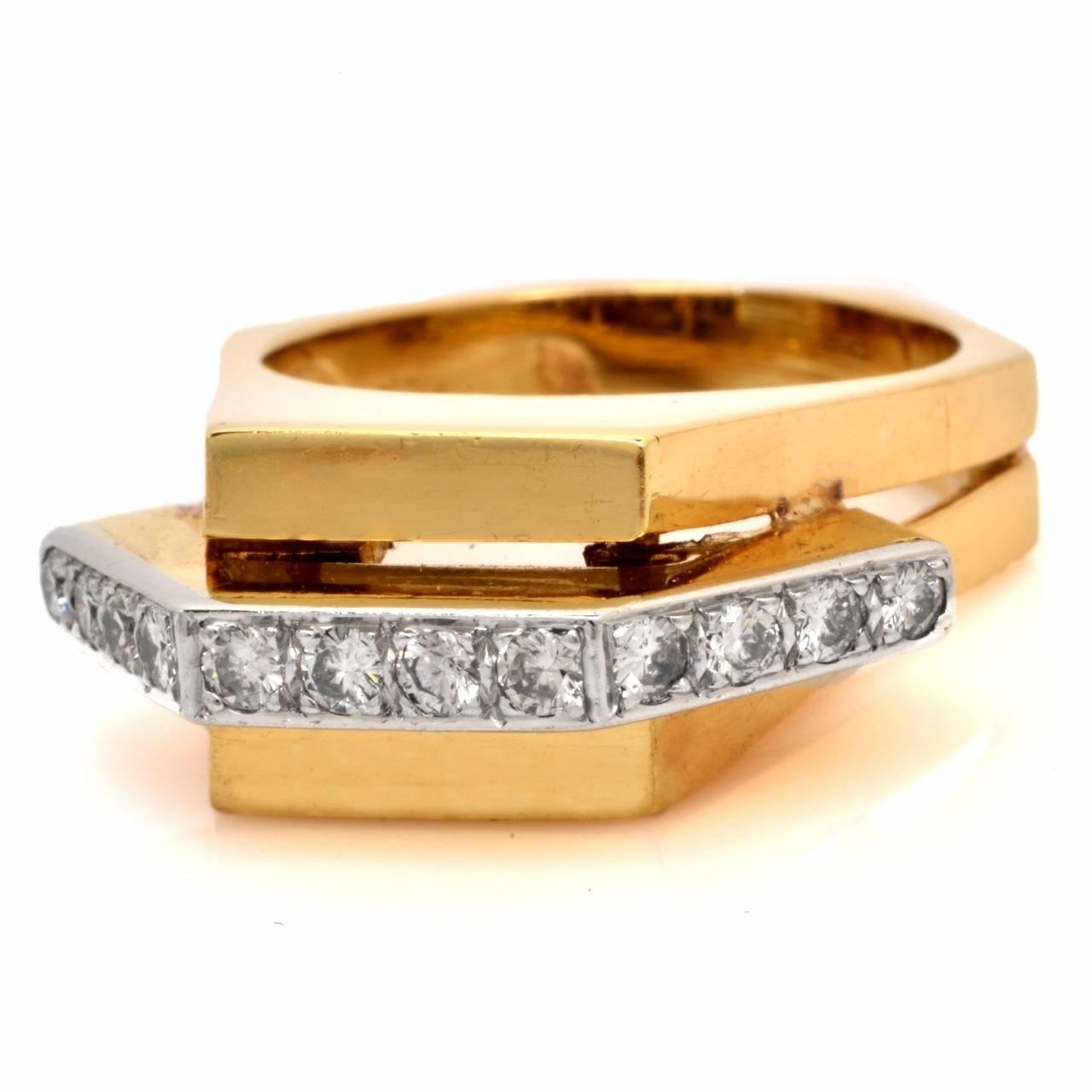 Retro Diamond Gold Geometric Pyramidal Design Ring 8