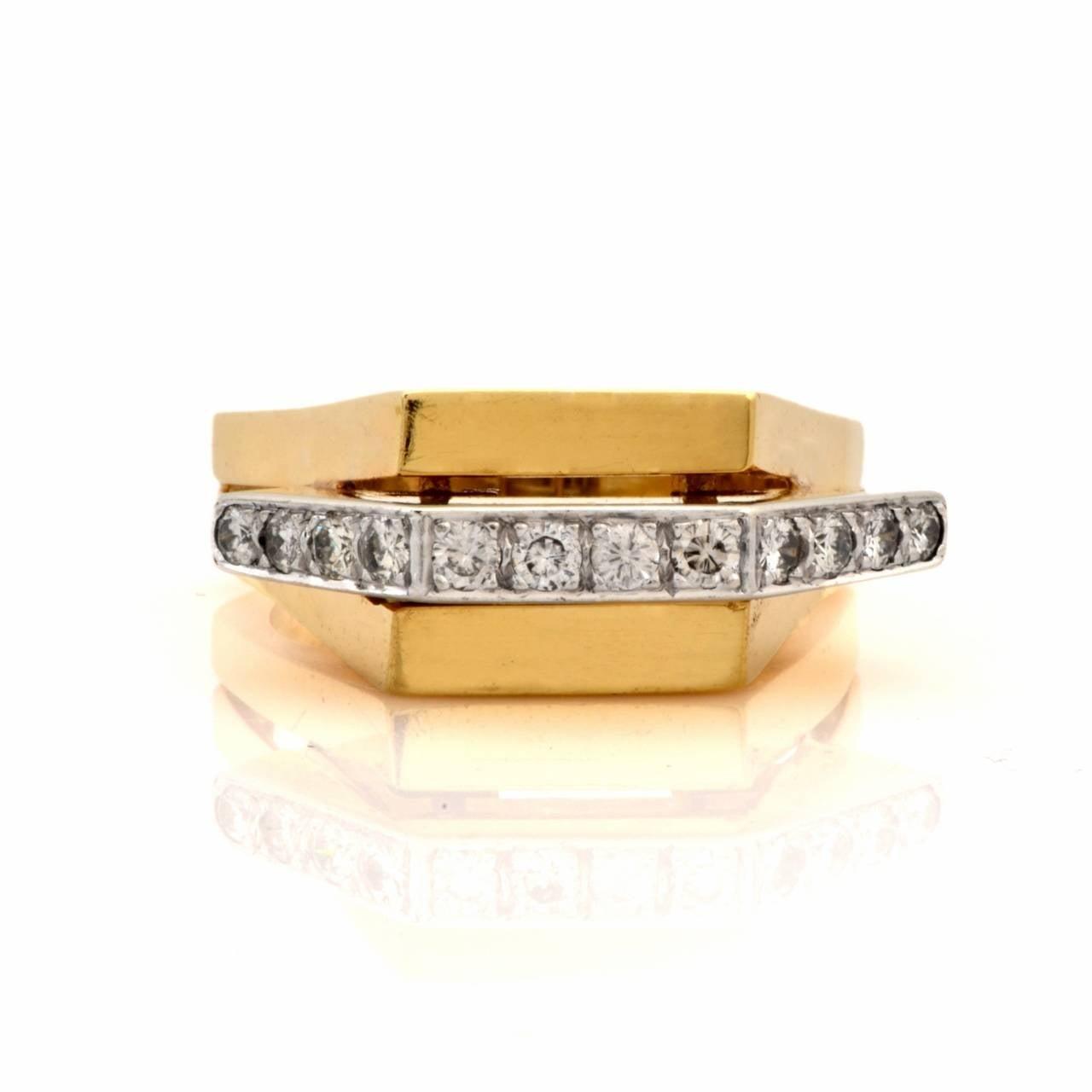 Retro Diamond Gold Geometric Pyramidal Design Ring 7