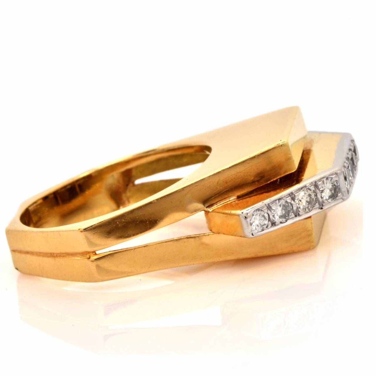 Retro Diamond Gold Geometric Pyramidal Design Ring 5