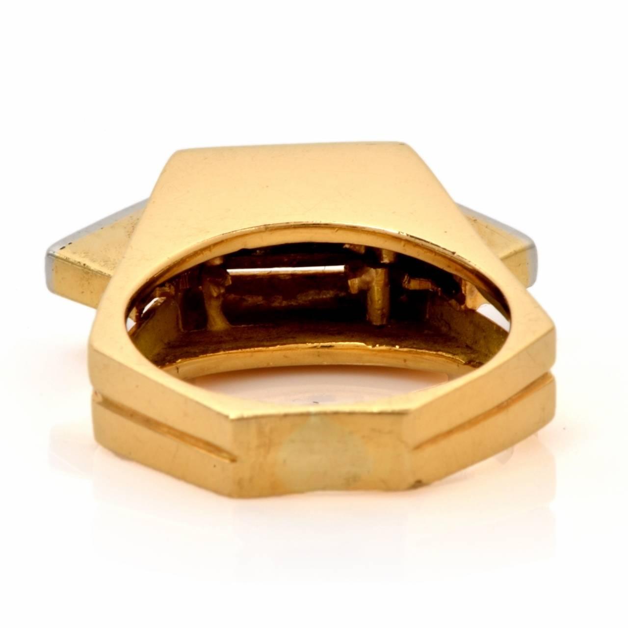 Retro Diamond Gold Geometric Pyramidal Design Ring 4