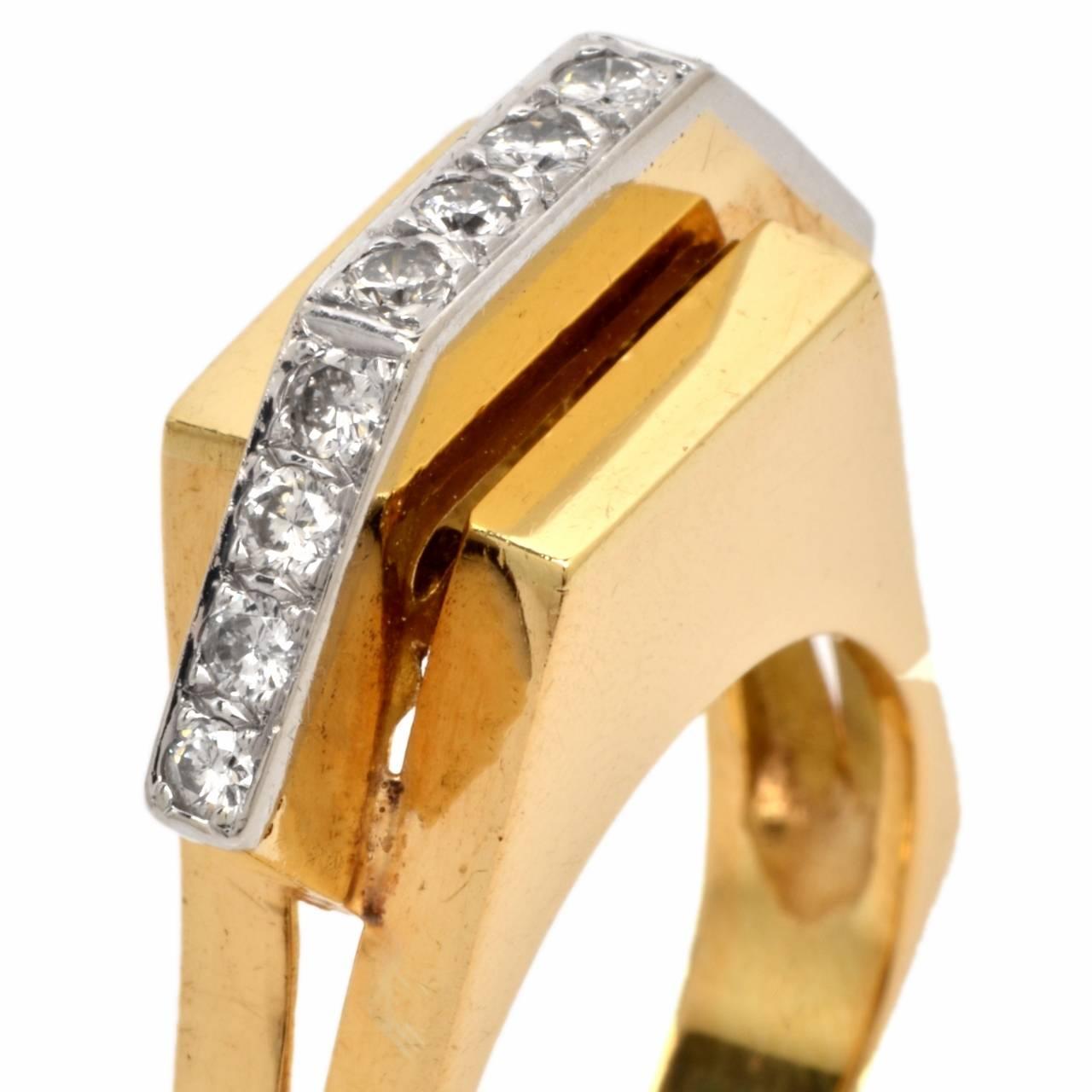 Retro Diamond Gold Geometric Pyramidal Design Ring 6