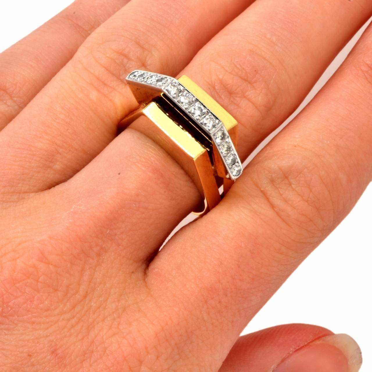 Retro Diamond Gold Geometric Pyramidal Design Ring 3