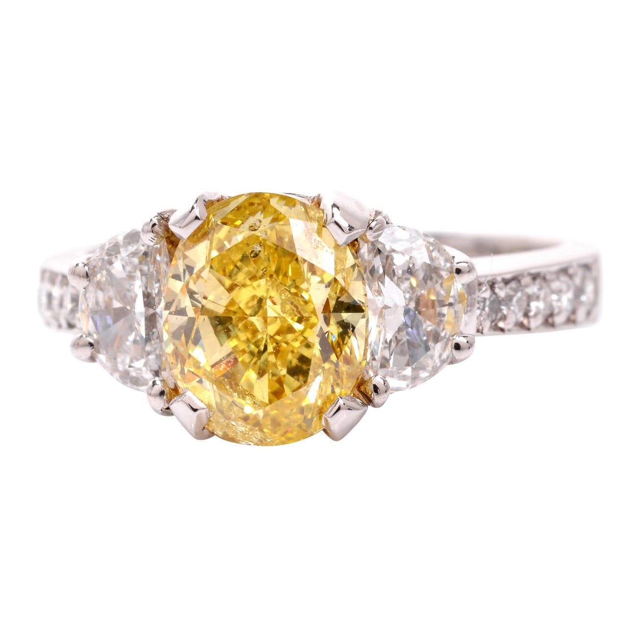 Natural Fancy Intense Yellow Diamond Platinum Engagement Ring at 1stdibs
