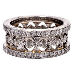 Beaudry Diamond Platinum Wide Eternity Band Ring