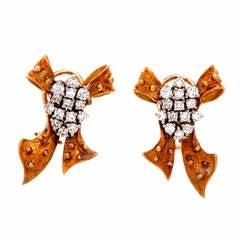 1960s Charming Diamond Gold Ribbon Bow Earrings