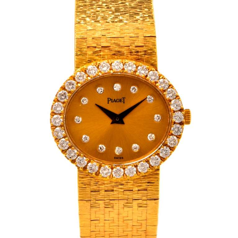 Piaget Lady's Yellow Gold and Diamond Bracelet Watch 2