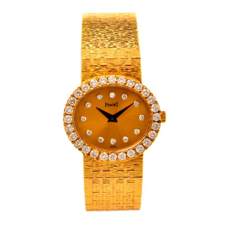 Piaget Lady's Yellow Gold and Diamond Bracelet Watch 3