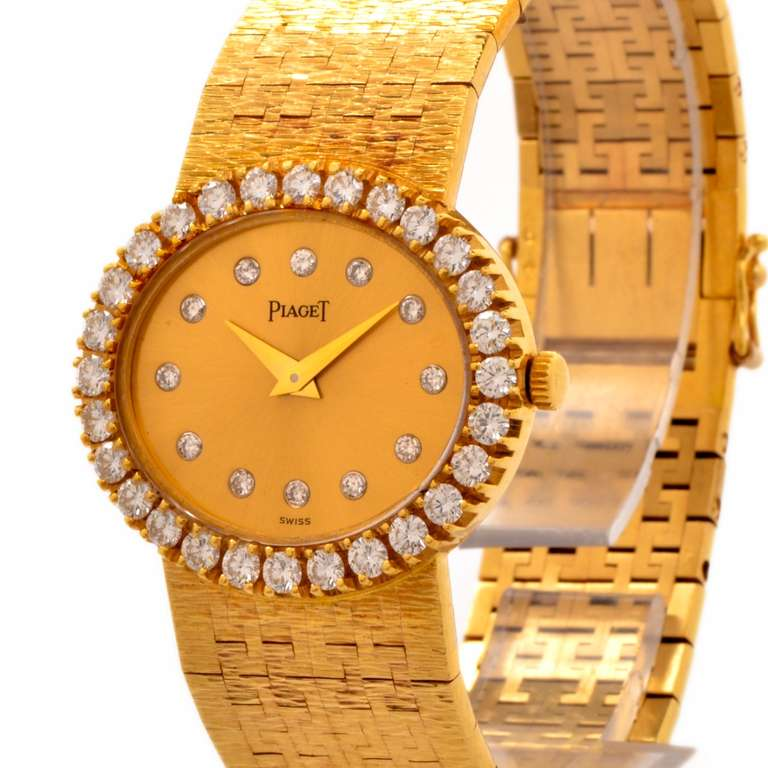 Piaget Lady's Yellow Gold and Diamond Bracelet Watch 4