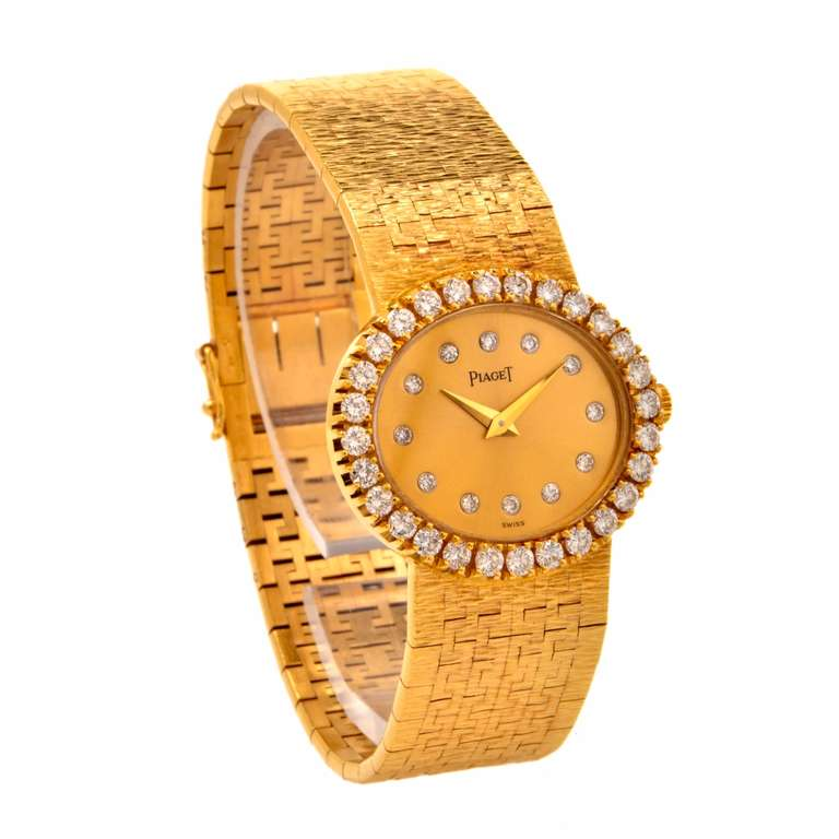 Piaget Lady's Yellow Gold and Diamond Bracelet Watch 5