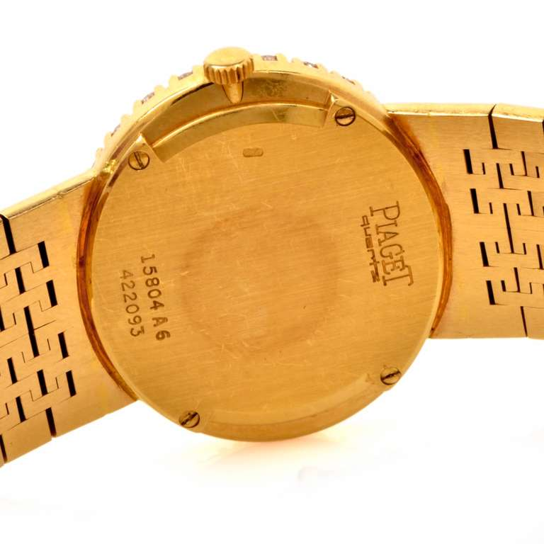 Piaget Lady's Yellow Gold and Diamond Bracelet Watch 7