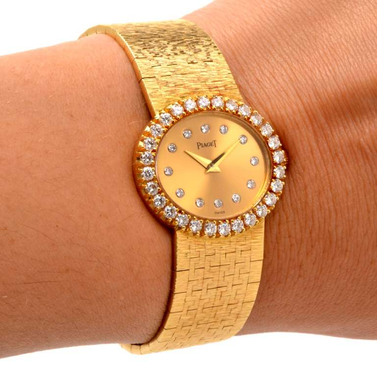 Piaget Lady's Yellow Gold and Diamond Bracelet Watch 8