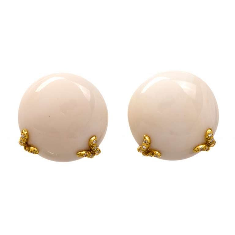 Henry Dunay Coral Diamond Gold Clip Back Earrings 2