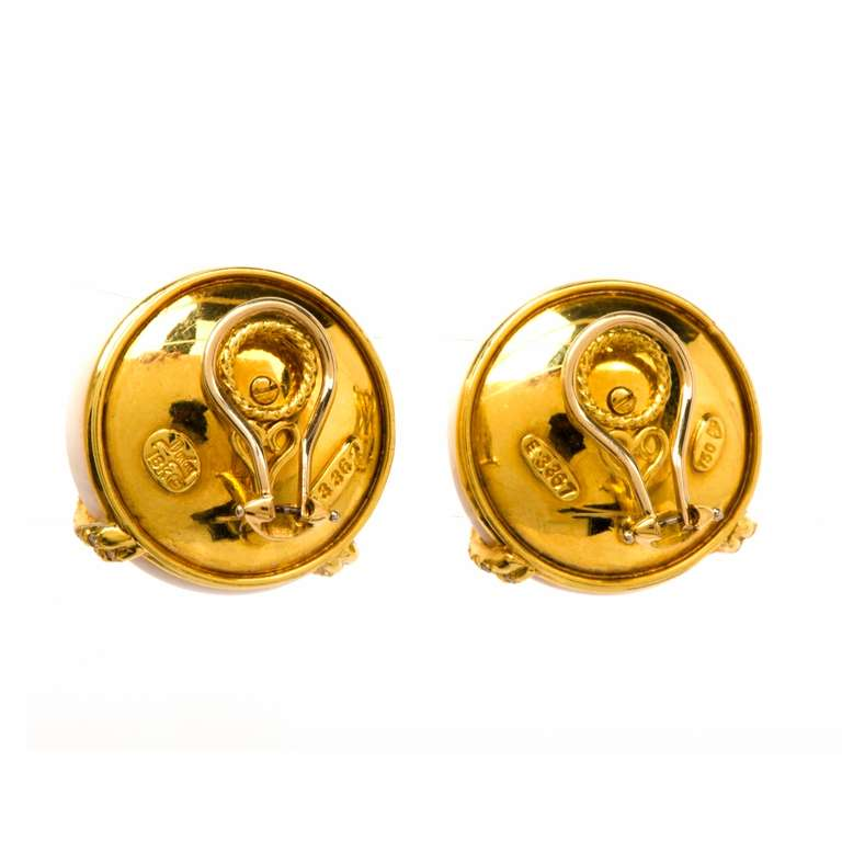 Henry Dunay Coral Diamond Gold Clip Back Earrings 4