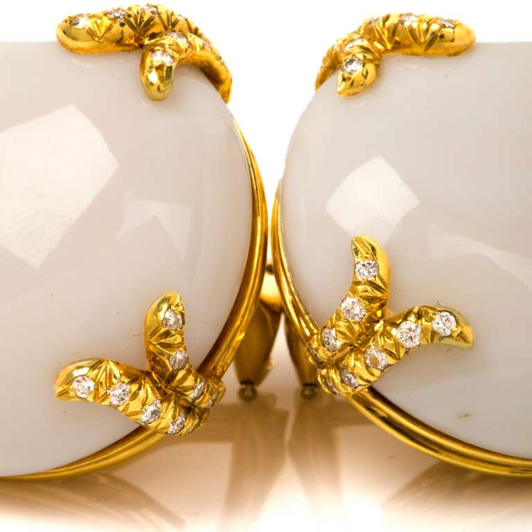 Henry Dunay Coral Diamond Gold Clip Back Earrings 6