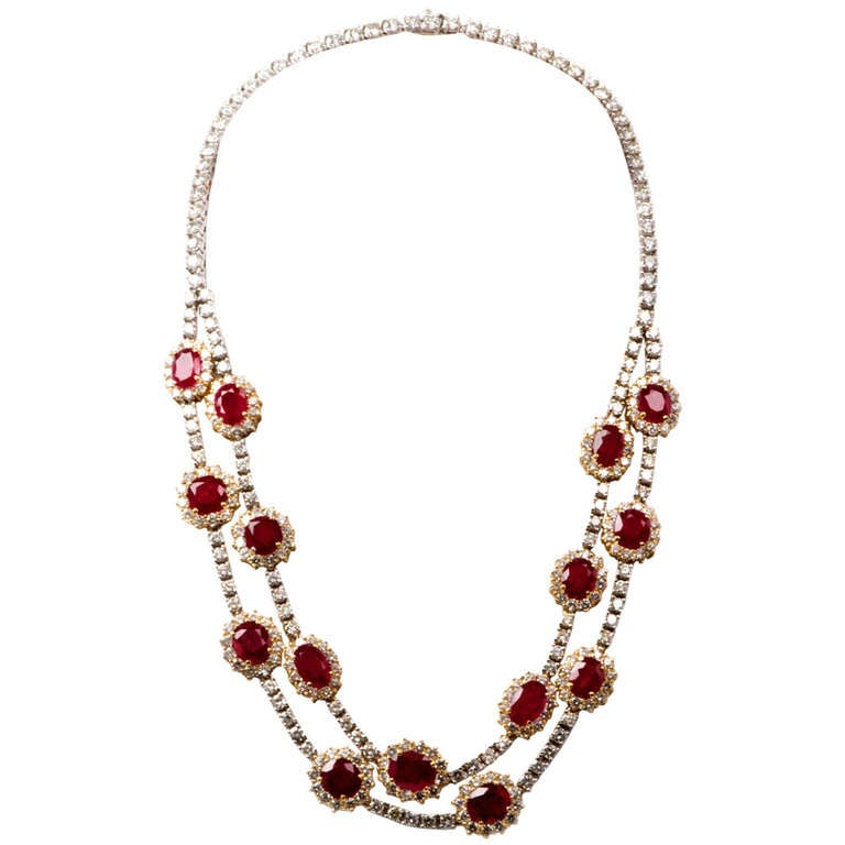 Important Ruby and Diamond Gold Necklace 1