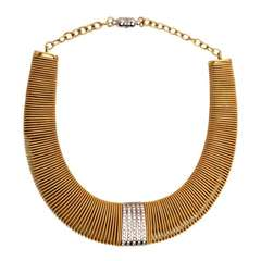 Retro Diamond Gold Wide Snake Mesh Necklace
