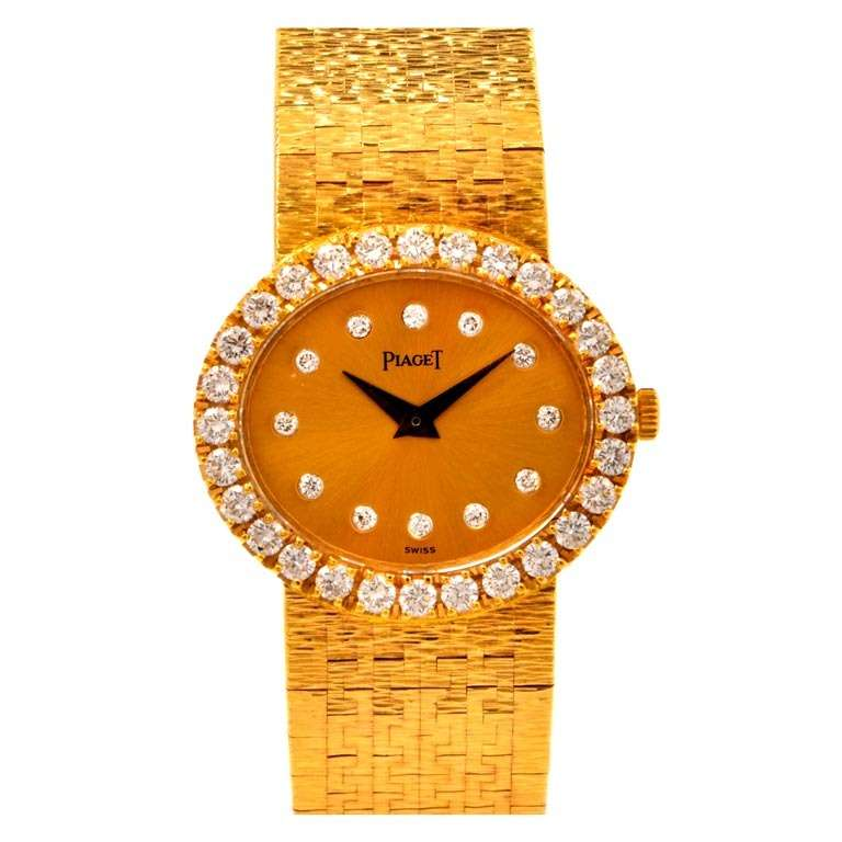 Piaget Lady's Yellow Gold and Diamond Bracelet Watch 1