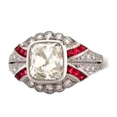 Cushion-cut Diamond & Ruby Platinum Engagement Ring