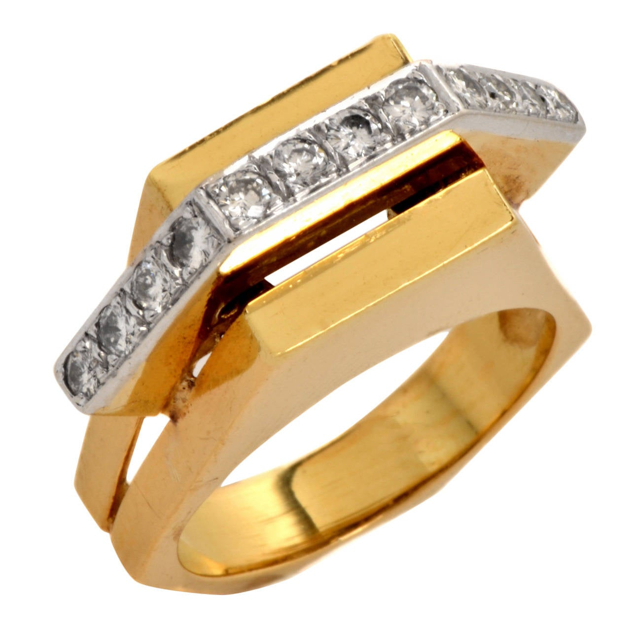 Retro Diamond Gold Geometric Pyramidal Design Ring 1