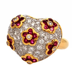Ruby Pave Diamond Gold Heart Motif Cocktail Ring