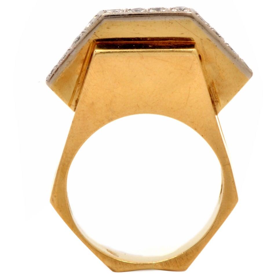 Retro Diamond Gold Geometric Pyramidal Design Ring 2