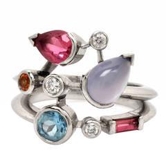 Cartier Meli Melo Multi Gemstone Platinum Ring