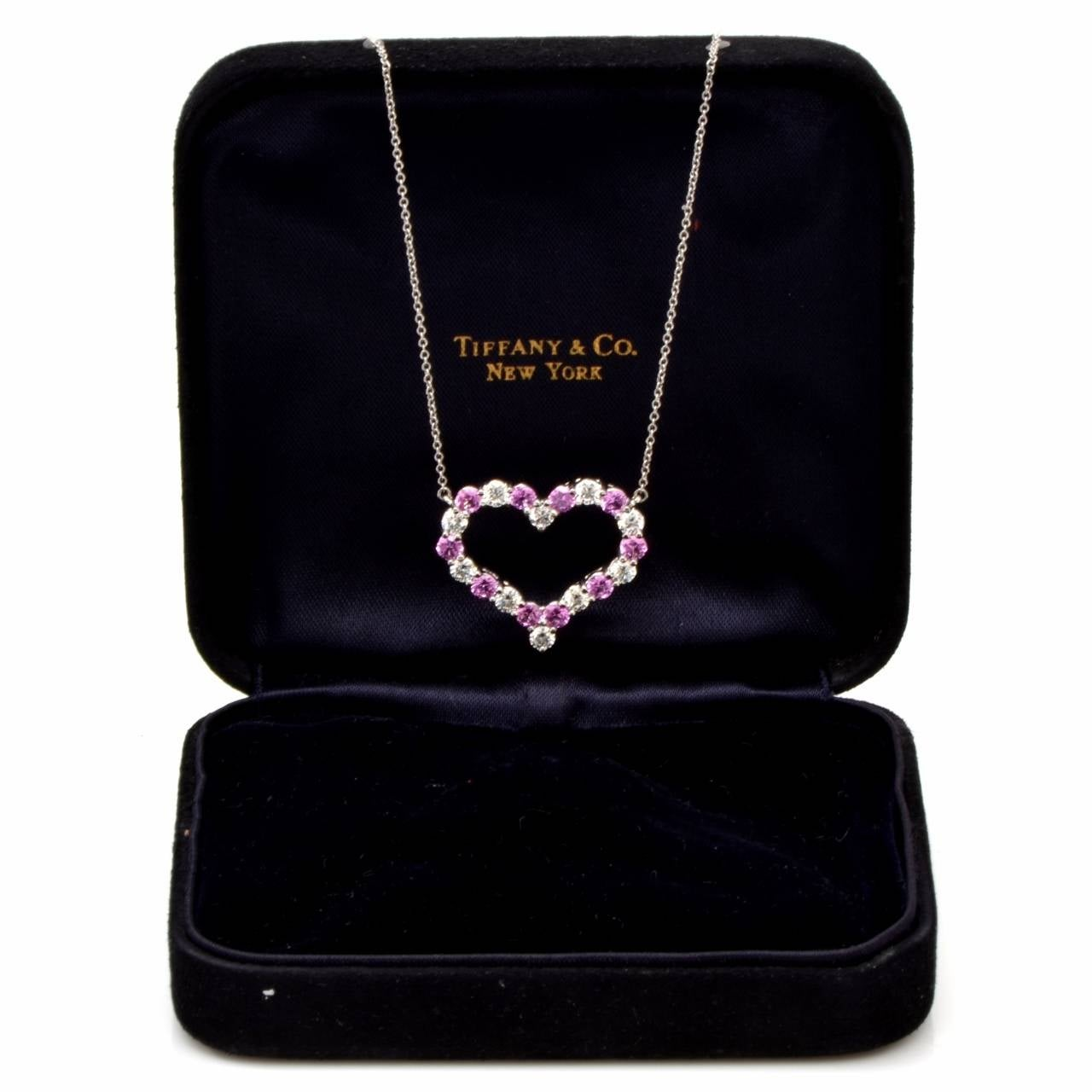 Tiffany and co diamond pink sapphire heart pendant platinum tiffany and co diamond pink sapphire heart pendant platinum necklace at 1stdibs aloadofball Image collections
