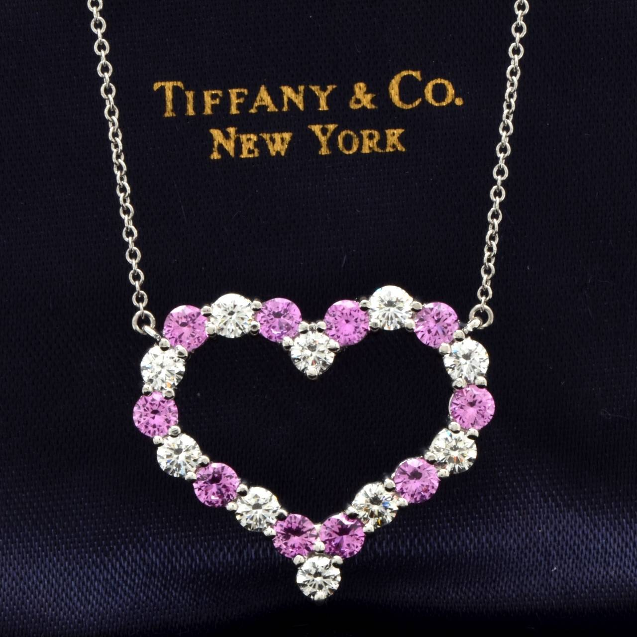 Tiffany and co diamond pink sapphire heart pendant platinum diamond pink sapphire heart pendant platinum necklace at 1stdibs aloadofball Image collections
