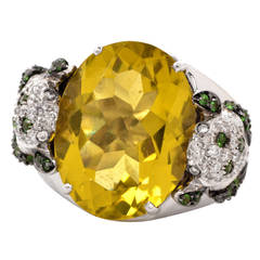Valente Milano Topaz Tsavorite Diamond Gold Frog Ring