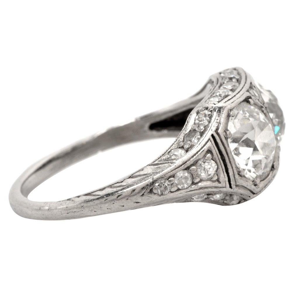 Antique art deco double diamond platinum engagement ring for Art craft engagement rings