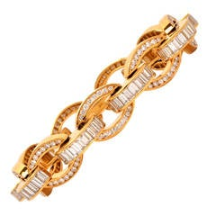 Magnificent Charles Krypell Baguette Diamond Gold Link Bracelet