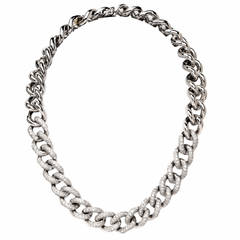 Heavy Diamond Gold Link Necklace