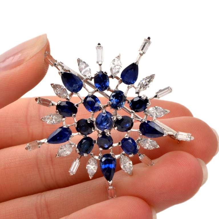 Diamond Sapphire Starburst Platinum Brooch Pin For Sale 1