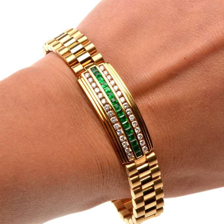 Emerald Diamond Gold Link Men S Bracelet At 1stdibs